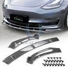 3pcs Carbon Fiber Style Black Front Bumper Lip For Tesla Model 3 2018 or newer