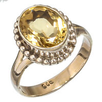 FACETED CITRINE NATURAL GEMSTONE 925 STERLING SILVER HANDMADE JEWELRY RING  9