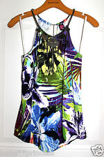 NWT bebe purple white floral embellished neck cutout sexy dress tank top S small
