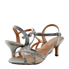Women's Shoes Blossom Vero 61 Strappy Rhinestone Accented Heel Silver *New*