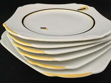Shelley Art Deco Yellow Black 5 Tea Salad Plates 1 Cake Plate R11791E FREE SHIP!