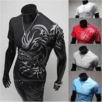 Mens Short Sleeve Slim Fit Dragon Printed Tee Casual Gym Sports T-Shirt Tops