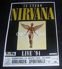 Nirvana Sporthalle,Boblingen,Germany 1994 Repro Concert Poster