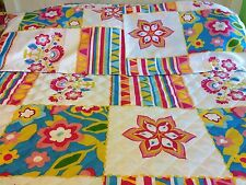 Full Queen Country Quilt Bright Flowers Garden Spring Patchwork Quilt & Shams