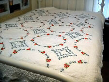 Red Rose Hand Embroidered Quilt