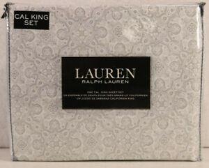 Ralph Lauren CAL California KING Cotton Extra Deep Sheet Set Geometric Gray NEW