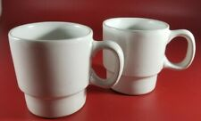 2 Vintage Bennington Pottery Stackable Coffee Cups # 1750 - Matte White