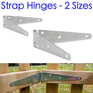 """Strap Hinges PAIR Zinc Plated Gate Shed Box Cold-Frame GreenHouse 6/8"""" 150/200mm"""