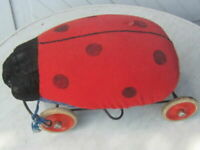 Large STEIFF Ladybird Beetle on Wheels Rolls Pull Toy or Riding Toy Solid