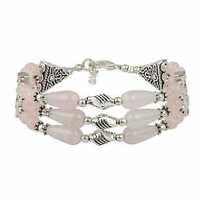 "Glee Rose Quartz 7"" Gemstone Bracelet for Women RCJB-0305-ROQ"