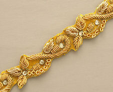 Narrow Gold Trim. Hand-Beaded. Brilliant, Bullion, Beads, Gems. Yellow.  2½ yard