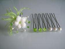 Pics/accessoires/épingles Cheveux Mariée/Mariage Vert anis/crème fleur pas cher
