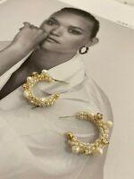 Latoir Instagram Blogger Gold Pearl Diamante Hoop Minimalist Statement Earrings