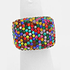 GLAM Celeb Gold Multi Pave Crystal Big Stretch Cocktail Ring By Rocks Boutique