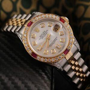 Ladies Rolex SS & Gold 26mm Datejust Watch White MOP Dial Ruby & Diamond Bezel