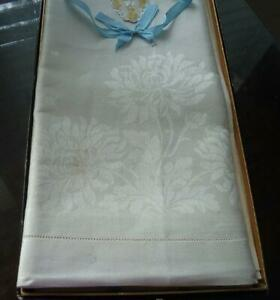 "NWT Vintage Damask Tablecloth Napkin Set ""Pride O' Erin"" Irish Linen Hemstitch"