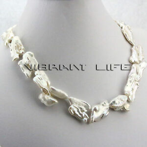 "18"" 15-25mm White Biwa Freshwater Pearl Necklace UE"