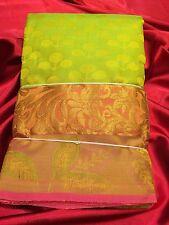Kanchipuram Indian Silk Saree Bollywood Bridal Wear Sari  Green Pink #13