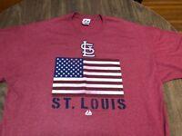 Albert Pujols St Louis Cardinals American USA Flag 2XL Red T Shirt MLB Majestic
