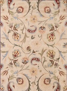 Transitional Floral Ivory Oushak Oriental Hand-Tufted 8'x11' Wool Area Rug New