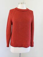 LK Bennett Samara Orange Red Burgundy Striped Pullover Knit Sweater Size XS Wool