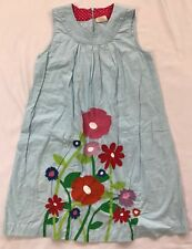 Mini Boden Girls Size 11-12 Years Blue Floral Appliqué Sleeveless Cotton Dress