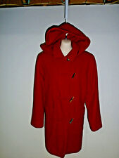 Vintage WOOL Blend Toggle Button hip Length Womens Removable Hood coat Sz M