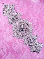 """DH33 Pearl Applique Crystal Clear Silver Beaded Rhinestone Patch 7.25"""""""