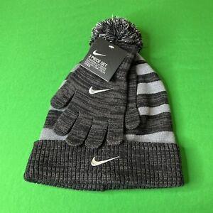 Nike Black & Gray Knit Cuff Pom Beanie & Stretch Gloves Youth Boy's 8-20 NWT