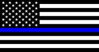 """TWO-3""""x5"""" Fallen Officer Thin Blue Line American Flag Decal Sticker Buy 2 Get 1!"""
