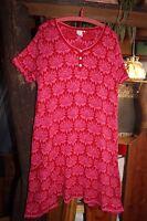 Deerberg L Strick - Kleid Tunika rot pink BW romantisch verspielt mit Spitze NEU
