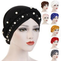 Fashion Women Head Wrap Muslim Soft Cap Turban Hat Beads Hair Loss Hair Cover