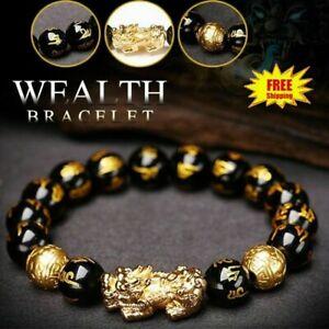 Feng Shui Black Obsidian Big Pixiu Bracelet Wealth Luck Dragon Glass Jewelry UK