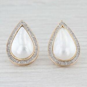 Mabe Pearl Diamond Halo Teardrop Earrings 14k Yellow Gold Statement