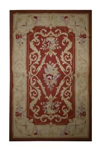 Handmade Carpet Traditional Red Needlepoint Floral Area Rug Tapestry 91x152cm