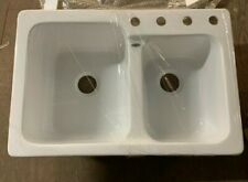 New Mansfield A3322HL white high/low 4 hole kitchen sink