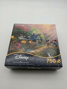 New Thomas Kinkade Puzzle Mickey and Minnie Sweetheart Bridge 750 Ceaco Puzzle