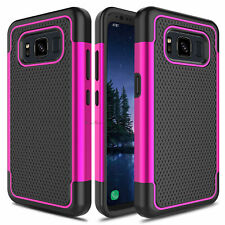 For Samsung Galaxy S8 Active Hybrid Armor Hard Phone Case+Glass Screen Protector