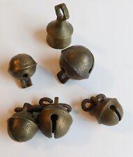 7 Vintage Antique Etched Brass Jingle Bells