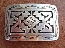 Sterling Silver Hand Made Overlay Belt Buckle - Signed & marked Sterling