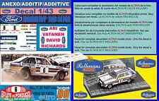 ANEXO DECAL 1/43 FORD ESCORT RS 1800 MK II ROTHMANS ARI VATANEN R.PORTUGAL (01)