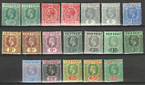 GOLD COAST GV 1913-21 - 1/2d to 10/- with shade variants FINE LMM/MM - 19 STAMPS