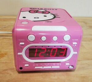 Hello Kitty CD Player AM/FM Alarm Clock Radio KT2053A Sanrio Tested & Works Pink