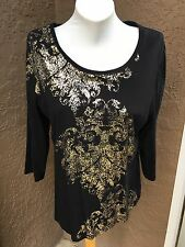 New Chico's Zenergy Black Felix Gold Foil Medallion Top Shirt 3 = XL 16 18 NWT