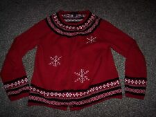 cotton button-up winter sweater,red w snowflakes,Women's size M,Nordic pattern