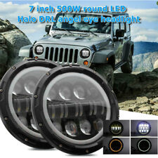 2X 7inch 500W Round LED Halo DRL Angel Eye Headlight For Jeep Wrangler JK Harley
