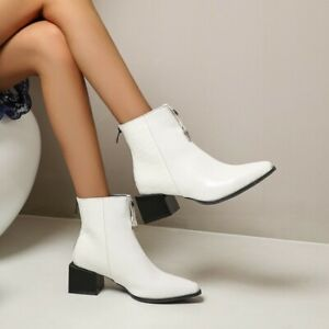 Womens Oversize Biker Ankle Boots Chelsea Square Toe Chunky Heels Zipper Shoes