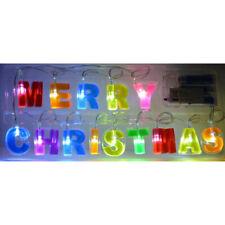 LED Lichterkette MERRY CHRISTMAS Weihnachtsbeleuchtung Batterie-betrieben bunt