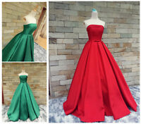 Strapless Evening Dress Bow Long Satin Formal Prom Dresses Size 6+8+10+12+14+16