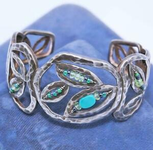 SIGNED SILPADA STERLING SILVER WIDE HAMMERED TURQUOISE LEAF CUFF BRACELET 28G P3
